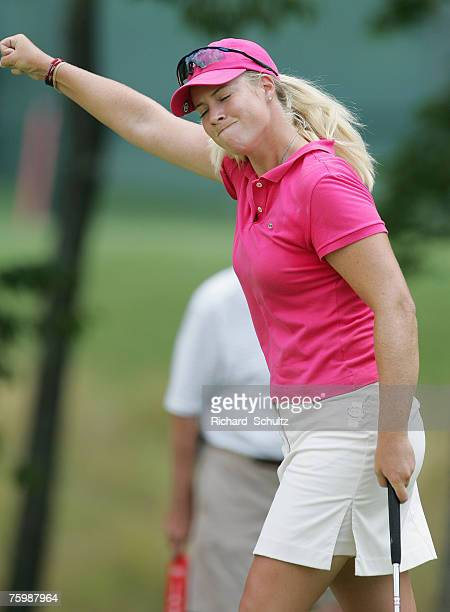Brittany Lincicome reacts after sinking a putt on the 10th hole to defeat Lorena Ochoa 1 up on 19 holes during the Semi Finals of the HSBC Women's...