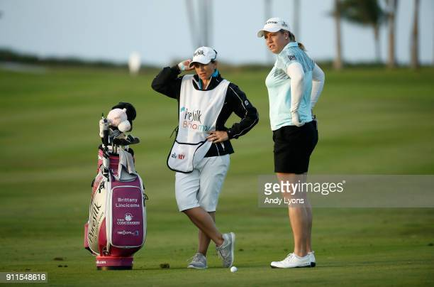 Brittany Lincicome waits to hit her second shot on the 16th hole during the final round of the Pure Silk Bahamas LPGA Classic at the Ocean Golf...