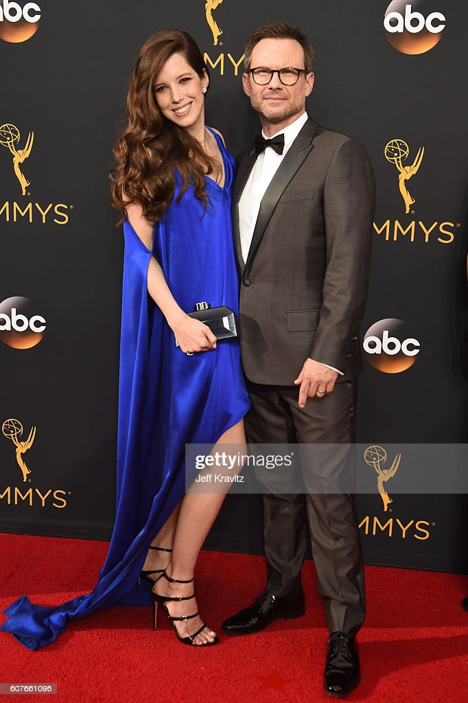 Brittany Lopez (L) and actor Christian Slater attend the 68th Annual Primetime Emmy Awards at Microsoft Theater on September 18, 2016 in Los Angeles, California.