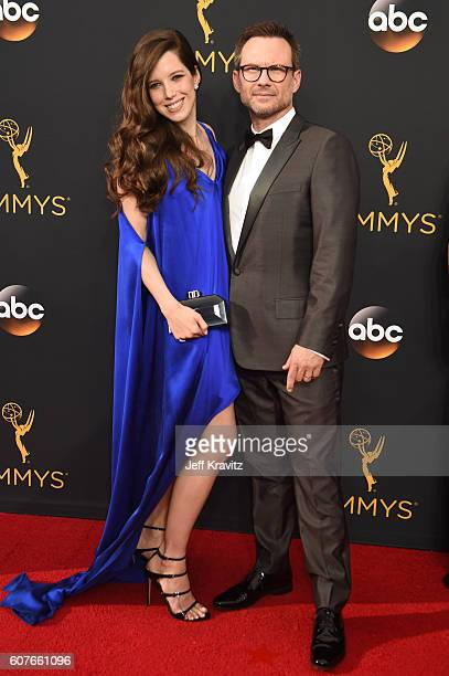 Brittany Lopez and actor Christian Slater attend the 68th Annual Primetime Emmy Awards at Microsoft Theater on September 18, 2016 in Los Angeles,...