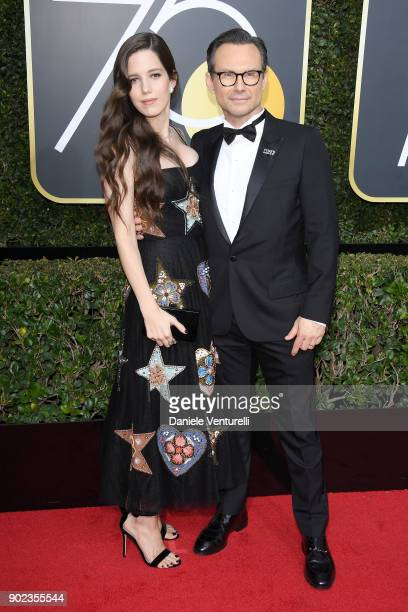 Brittany Lopez and actor Christian Slater attend The 75th Annual Golden Globe Awards at The Beverly Hilton Hotel on January 7, 2018 in Beverly Hills,...
