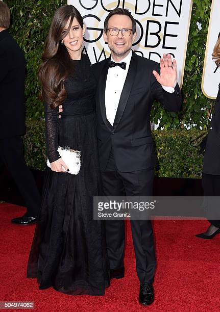 Brittany Lopez and Christian Slater arrives at the 73rd Annual Golden Globe Awards at The Beverly Hilton Hotel on January 10, 2016 in Beverly Hills,...