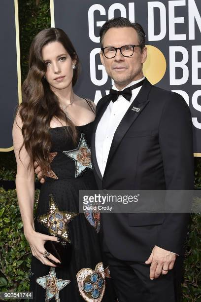 Brittany Lopez and Christian Slater attend the 75th Annual Golden Globe Awards - Arrivals at The Beverly Hilton Hotel on January 7, 2018 in Beverly...