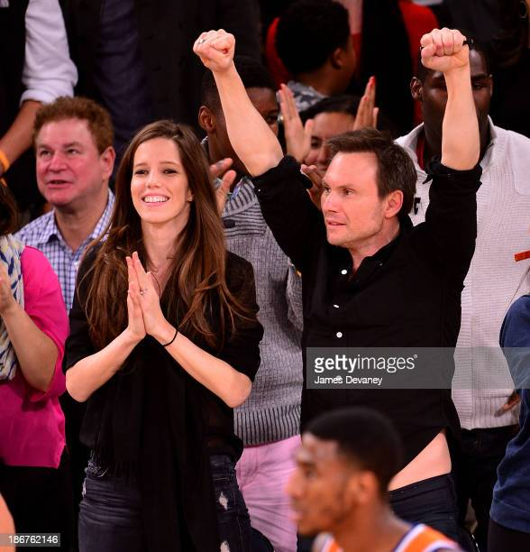 Brittany Lopez and Christian Slater attend the Minnesota Timberwolves vs New York Knicks game at Madison Square Garden on November 3, 2013 in New...