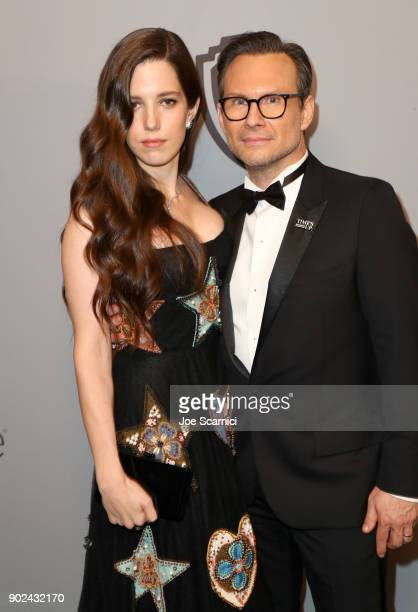 Brittany Lopez and Christian Slater attends the 2018 InStyle and Warner Bros. 75th Annual Golden Globe Awards Post-Party at The Beverly Hilton Hotel...