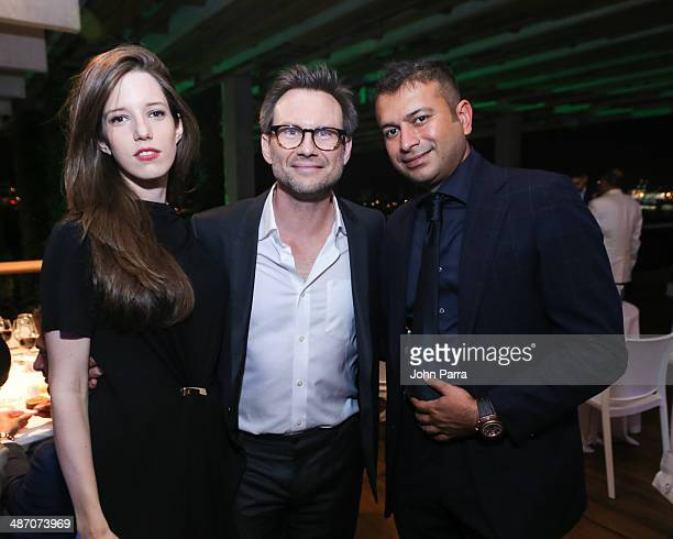 Brittany Lopez Christian Slater and Kamal Hotchandani attend the Haute Living Miami Haute 100 Dinner Presented By Dom Perignon And Jade Signature at...