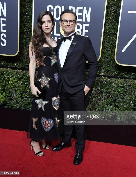 Brittany Lopez Christian Slater arrives at the 75th Annual Golden Globe Awards at The Beverly Hilton Hotel on January 7 2018 in Beverly Hills...
