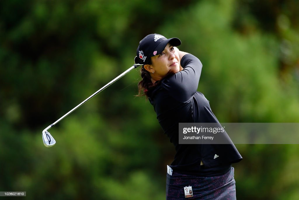 Brittany Marchado of Canada hits on the 2nd hole during the third round of the LPGA Cambia Portland Classic at Columbia Edgewater Country Club on September 1, 2018 in Portland, Oregon.