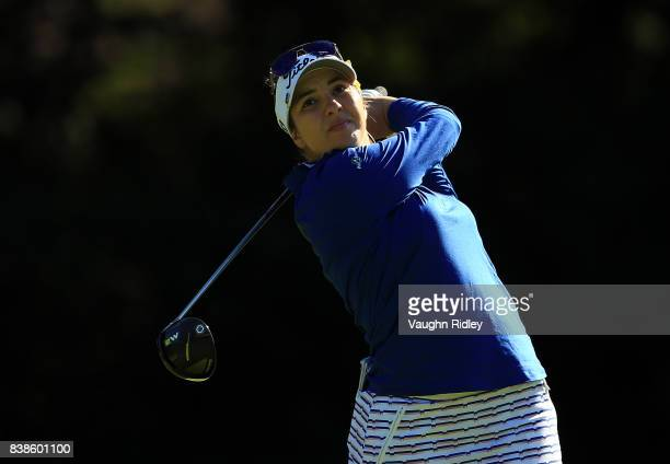 Brittany Marchand of Canada watches her shot on the 4th tee during round one of the Canadian Pacific Women's Open at the Ottawa Hunt Golf Club on...