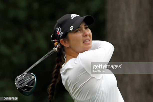 Brittany Marchand of Orangeville Ontario hits from the 3rt tee during the third round of the Marathon LPGA Classic golf tournament at Highland...