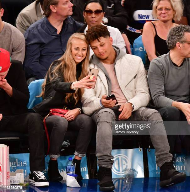Brittany Matthews and Patrick Mahomes attend Miami Heat v New York Knicks game at Madison Square Garden on March 30 2019 in New York City