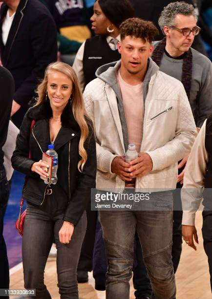 Brittany Matthews and Patrick Mahomes attends Miami Heat v New York Knicks game at Madison Square Garden on March 30 2019 in New York City