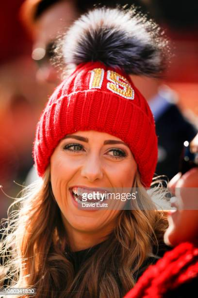 Brittany Matthews girlfriend of quarterback Patrick Mahomes of the Kansas City Chiefs smiles during pregame festivities prior to the game between the...