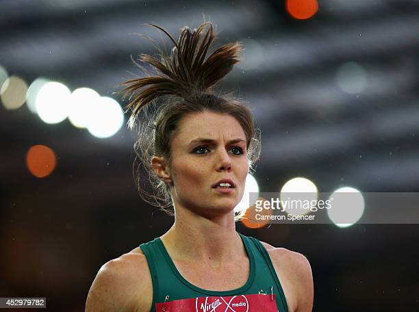 Brittany McGowan of Australia looks on after competing in the Women's 800 metres semifinal at Hampden Park during day eight of the Glasgow 2014...