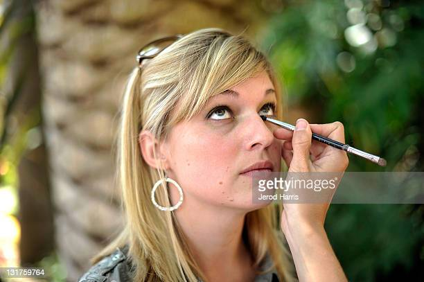 Brittany Morrissey gets her makeup done by a professional makeup artsit from Stila at the Alison Brod Public Relations Los Angeles Summer Style Event...