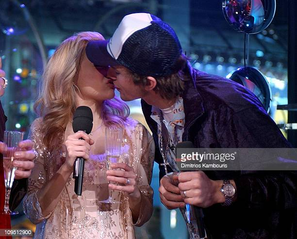 Brittany Murphy and Ashton Kutcher during MTV's New Year's Pajama Party 2003 Show at MTV Studios Times Square in New York City New York United States