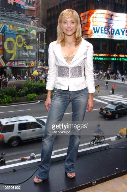 Brittany Murphy during Brittany Murphy Visits MTVs TRL August 6 2004 at MTV Studios Times Square in New York City New York United States