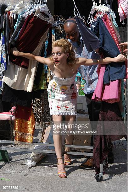 Brittany Murphy plays a scene set in a flea market while filming the movie Molly Gunn on the upper East Side