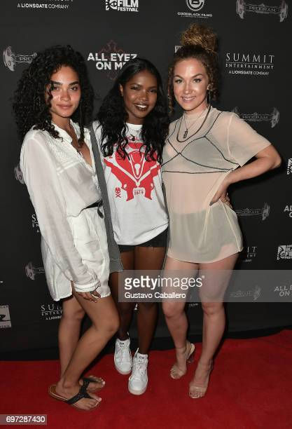Brittany O Grady Ryan Destiny and Jude Demorest from Star attend the All Eyez on Me ABFF Screening at Regal South Beach Cinema on June 17 2017 in...