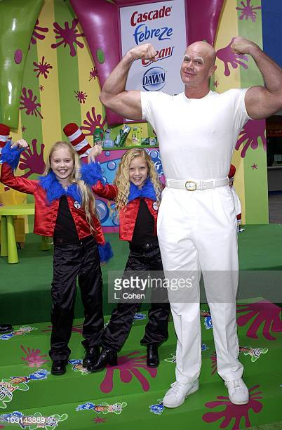Brittany Oakes Danielle Chuchran and Mr Clean having good clean fun at The Cat in the Hat premiere