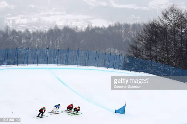 Brittany Phelan of Canada Sandra Naeslund of Sweden Kelsey Serwa of Canada and Fanny Smith of Switzerland compete during the Freestyle Skiing Ladies'...