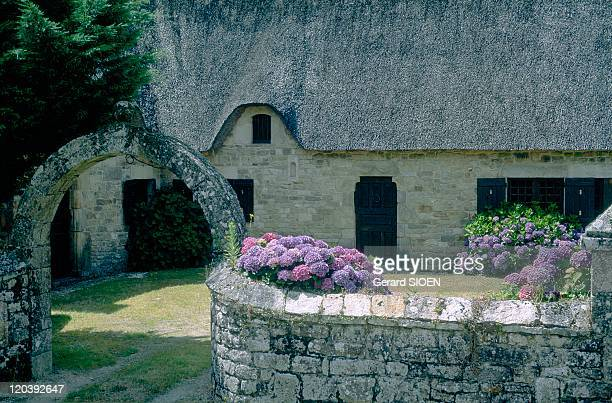 Brittany, plural and singular in France - Blavet Valley, Lanvaudan, thatched cottage with hydrangea.