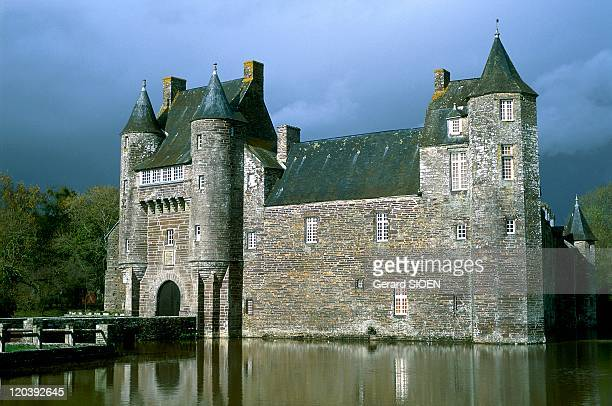 Brittany, plural and singular in France - Campemeac, Trecesson Castle, walls of red schiSaint
