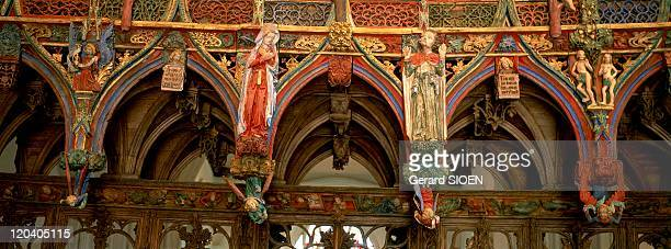 Brittany, plural and singular in France - La Faouet, Saint Fiacre Chapel, jube of Olivier Le Loegant the Virgin and Saint John.
