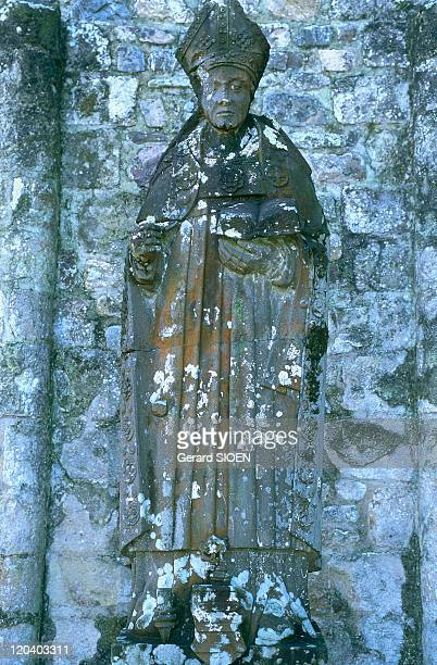 Brittany plural and singular in France Landevennec old abbey statue of Saint Guenole the founder