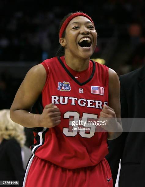 Brittany Ray of the Rutgers Scarlet Knights celebrates their 5935 win against the LSU Lady Tigers during the National Semifinal game of the 2007 NCAA...