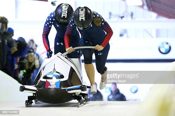 Brittany Reinbolt and Lauren Gibbs compete in their first run during day 1 of the 2017 IBSF World Cup Bobsled Skeleton at Lake Placid Olympic Center...