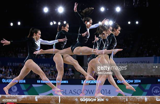 Brittany Robertson of New Zealand competes on the Beam during the Women's Gymnastics Artistic Team Final at SECC Precinct during day six of the...