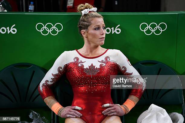 Brittany Rogers of Canada shows her emotion after failing to qualify for the team final during Women's qualification for Artistic Gymnastics on Day 2...