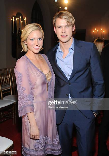 Brittany Snow and Chord Overstreet attend the Alberta Ferretti And Vogue Limited Edition Collection 2013 Fashion Show And Dinner Hosted by Alberta...