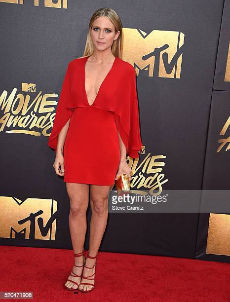 Brittany Snow arrives at the 2016 MTV Movie Awards at Warner Bros Studios on April 9 2016 in Burbank California
