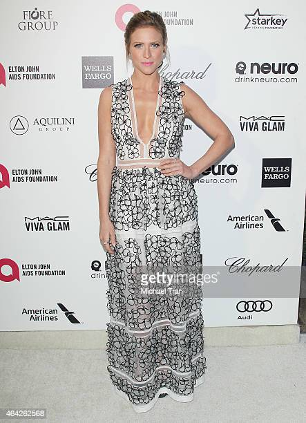 Brittany Snow arrives at the 23rd Annual Elton John AIDS Foundation Academy Awards viewing party held at The City of West Hollywood Park on February...