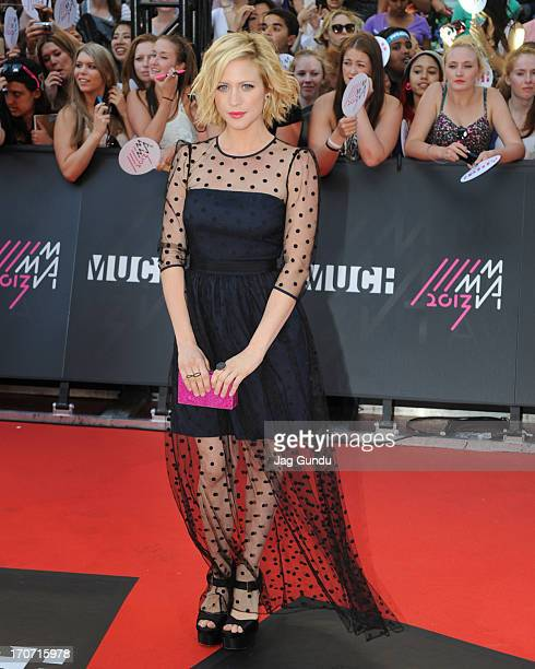 Brittany Snow arrives on the red carpet at the 2013 MuchMusic Video Awards at Bell Media Headquarters on June 16 2013 in Toronto Canada