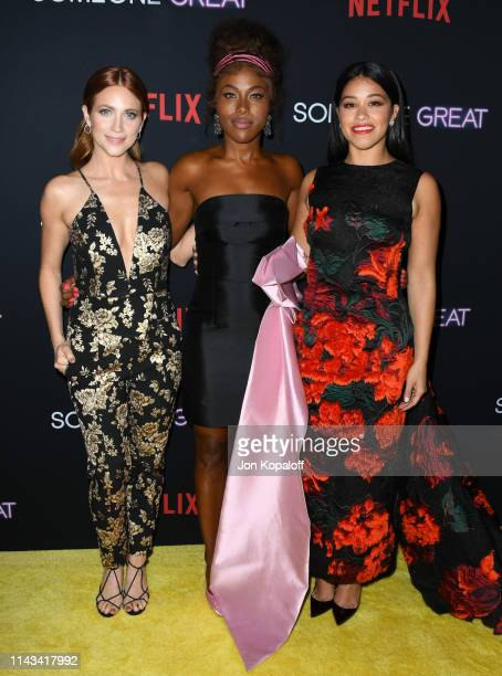 "Brittany Snow, DeWanda Wise and Gina Rodriguez attend the Los Angeles Special Screening Of Netflix's ""Someone Great"" at ArcLight Hollywood on April..."