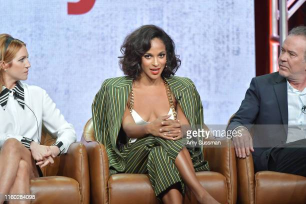 Brittany Snow Megalyn Echikunwoke and Timothy Hutton of Almost Family speak during the Fox segment of the 2019 Summer TCA Press Tour at The Beverly...