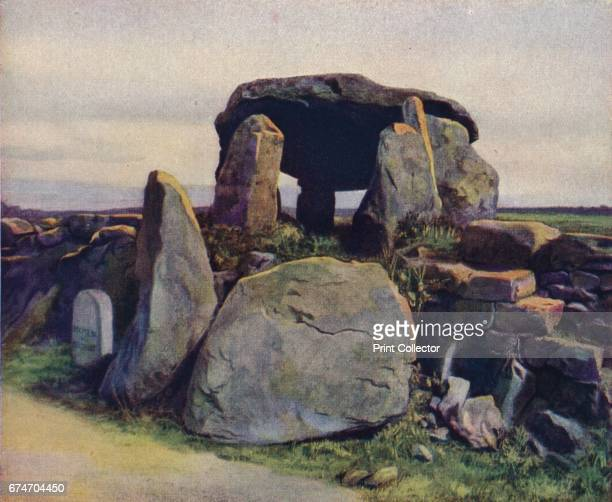 Brittany Still covered by its mighty capstone the Dolmen de Kergavat is one of several near Plouharnel on the way to Carnac' c1920 The Kergavat...