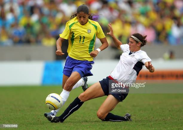 Brittany Taylor of the US and Cristiane Silva of Brazil battle during the women's Gold Medal match at the 2007 XV Pan American Games at Maracana...