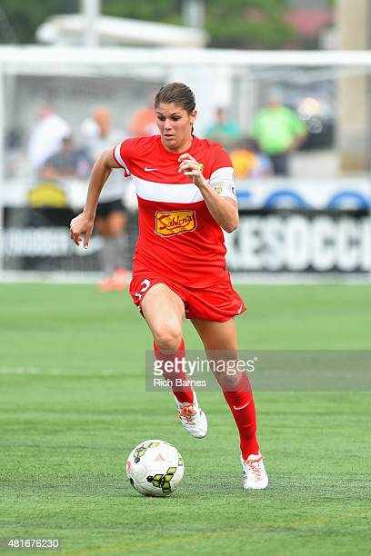 Brittany Taylor of the Western New York Flash controls the ball against the Sky Blue FC during the second half at Sahlen's Stadium on July 19 2015 in...