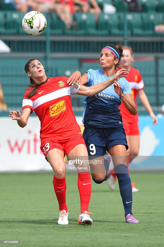 Brittany Taylor #13 of Western New York Flash and Nadia Nadim #9 of Sky Blue FC battle for a loose ball during the first half at Sahlen's Stadium on July 19, 2015 in Rochester, New York.