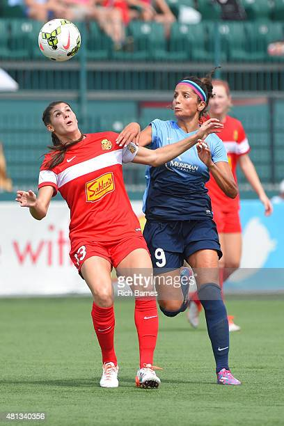 Brittany Taylor of Western New York Flash and Nadia Nadim of Sky Blue FC battle for a loose ball during the first half at Sahlen's Stadium on July 19...