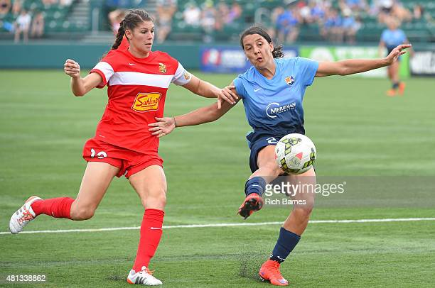 Brittany Taylor of Western New York Flash and Samantha Kerr of Sky Blue FC battle for a loose ball during the second half at Sahlen's Stadium on July...