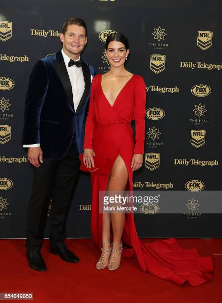 Brittany Wicks and Jarrod Croker arrive ahead of the 2017 Dally M Awards at The Star on September 27 2017 in Sydney Australia
