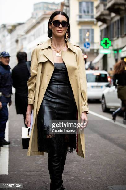 Brittany Xavier attends the Ermanno Scervino show at Milan Fashion Week Autumn/Winter 2019/20 on February 23 2019 in Milan Italy