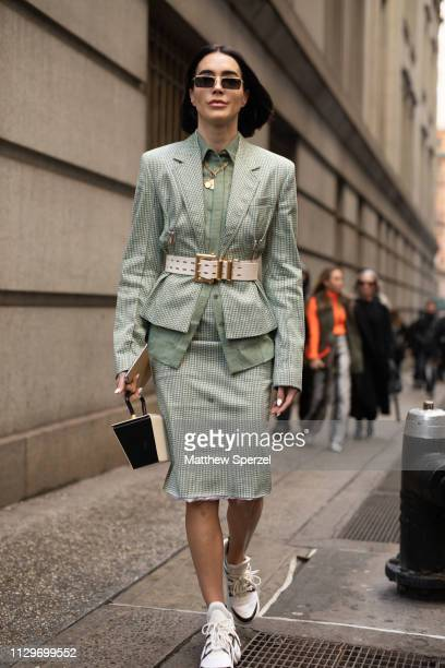 Brittany Xavier is seen on the street during New York Fashion Week AW19 wearing Michael Kors on February 13 2019 in New York City