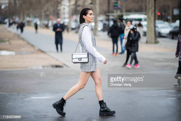 Brittany Xavier is seen outside Chanel during Paris Fashion Week Womenswear Fall/Winter 2019/2020 on March 05 2019 in Paris France