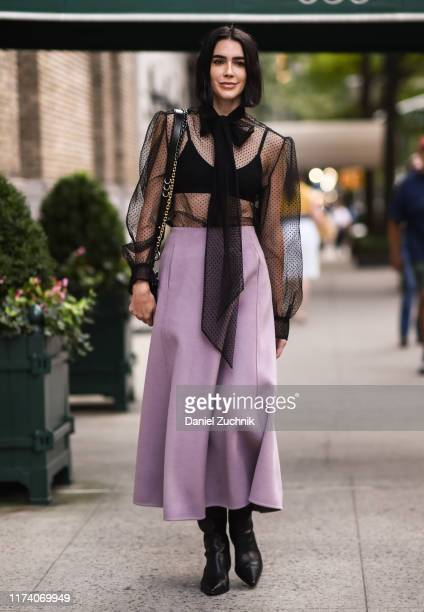 Brittany Xavier is seen wearing a Marc Jacobs outfit outside the Marc Jacobs show during New York Fashion Week S/S20 on September 11, 2019 in New...